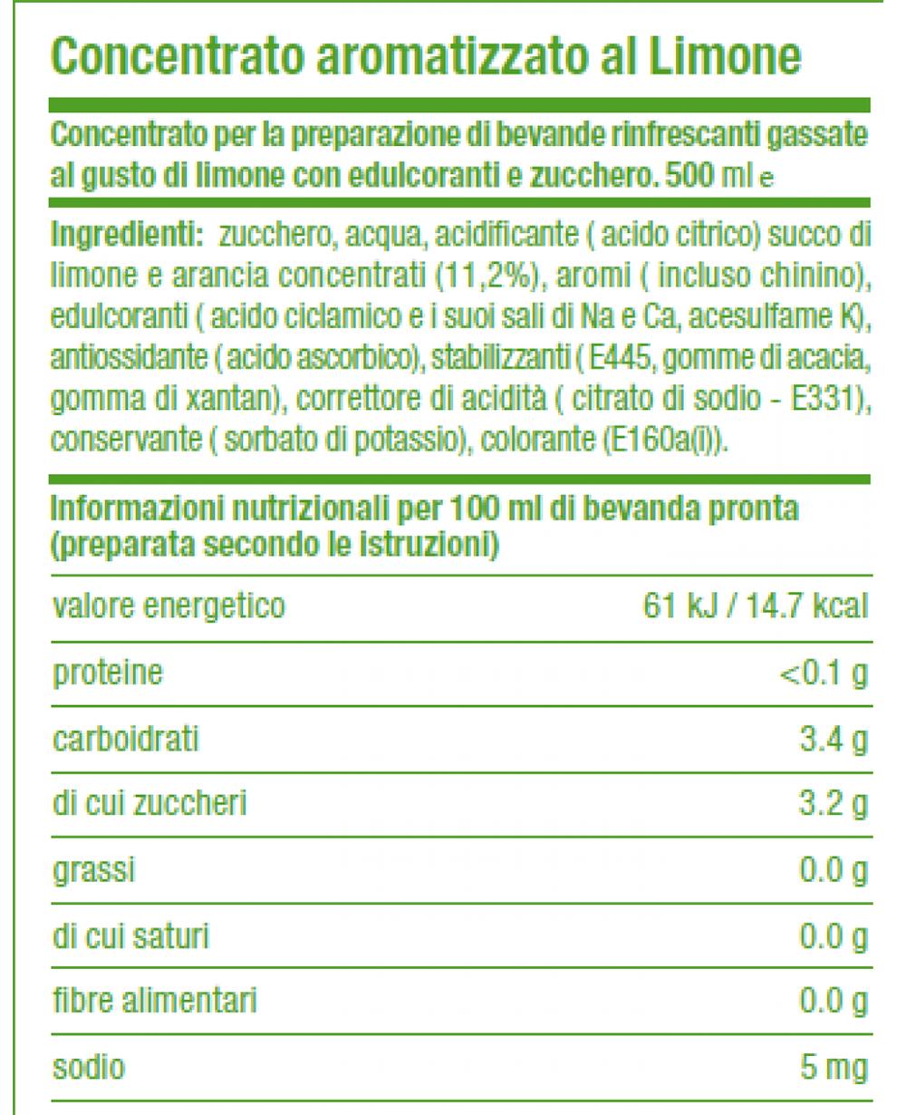Valori Nutrizionali Concentrato SodaStream Limone